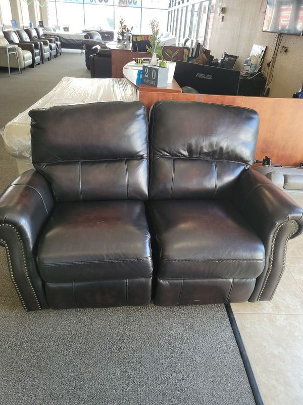 Leather Love Seat Manual Recliner