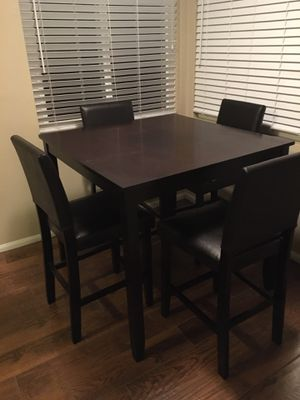 Wood Table Kitchen + 4 Leather Chairs (Bar Height) for Sale in San Diego, CA