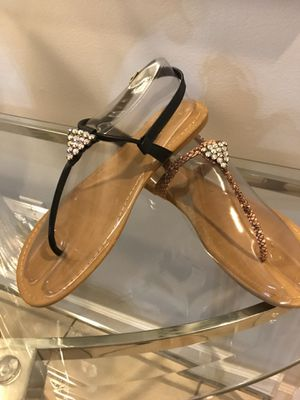 New Black or Tan flat Sandals new in box for Sale in Miami, FL