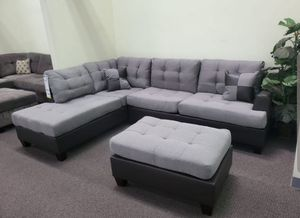 Brand New Grey Linen Sectional Sofa Couch +Ottoman for Sale in Fairfax, VA