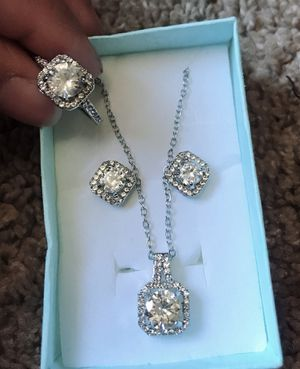 S925 starling silver Zircon Square Diamond Necklace, Women's Short Collarbone Pendant Jewelry Sets (Ring + Necklace + Earrings). Ring size 6/7 for Sale in Moreno Valley, CA