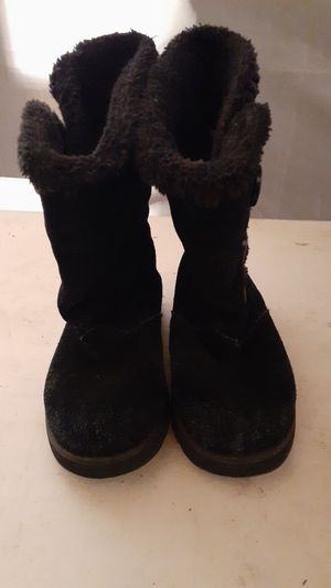 Sketchers Girls Black Leather & Faux Fur Boots Size 5.5 (US)/ 35.5 (Euro) for Sale in Edmonds, WA