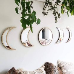 5 Pieces Scandinavian Natural Wooden Moon Phase Mirror Wall Decoration- Acrylic,Not Real Mirror(Beige) 🛳SHIPPING ONLY📦 for Sale in Fremont,  CA
