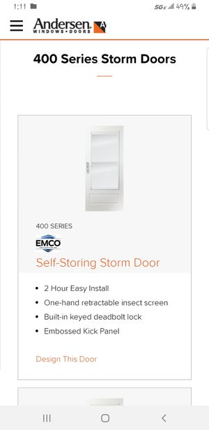 Emco, Anderson self storing storm door fits 30 × 80 for Sale in Pittsburgh, PA