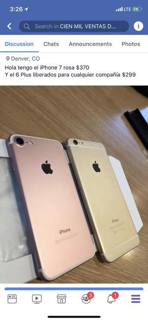 Ahí están los precios en las fotos Rocio Gomez Estos son los que hay y sus precios todos liberados iPhone 6 Plus $299 iPhone 7 Plus Rosa y oro $490 for Sale in Denver, CO