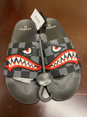 New Reason Brand Clothing Bomber Face Slides Sandals Mens Size 11 Black for Sale in Mechanicsburg, PA