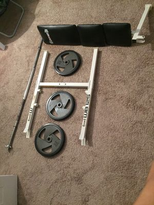 Bench press bar and 220 lbs for Sale in Alexandria, VA
