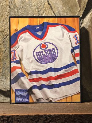 """Page from the Past : Picture of 1984- 1985 Edmonton Oilers Jersey In """"8 x 10"""" glass frame. for Sale in Snellville, GA"""