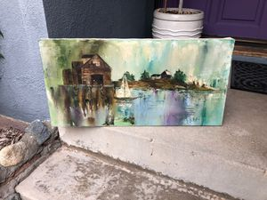 "Oil painting Sailboat / boathouse ? / cabin ... trees, 15"" X 30"" for Sale in La Mirada, CA"