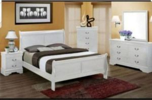 BRAND NEW TWIN FULL QUEEN BEDROOM SET INCLUDES BED FRAME DRESSER MIRROR AND NIGHTSTAND ADD MATTRESS ALL NEW FURNITURE BY USA MEXICO FURNITURE for Sale in Montclair, CA
