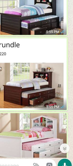 BRAND NEW TWIN SIZE BED WITH TRUNDLE ADD MATTRESS ADD FURNITURE ONE LEFT for Sale in Riverside, CA