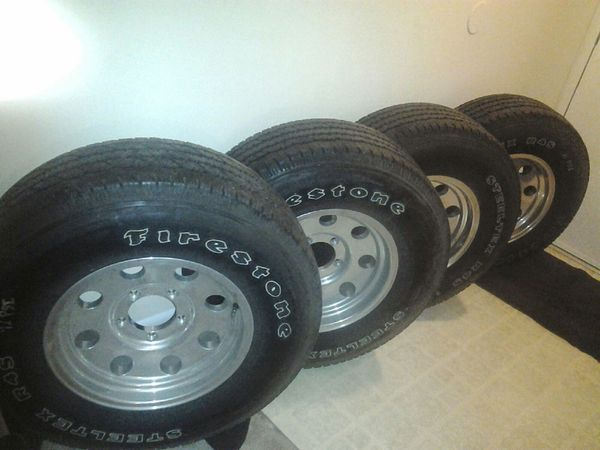 Ford F150 Tires - P265/75 R16 Firestone Steel Tex  R-4S Set of Chrome Rims/Cap  yes.
