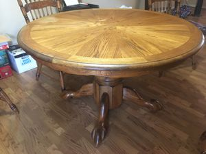 Wooden kitchen table with leaf and 6 chairs for Sale in Glendale, AZ