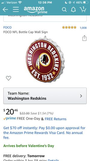 Redskins wall sign for Sale in Millsboro, DE