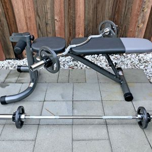 (Brand New) Adjustable Bench, Olympic 5ft Bar, Curl Bar And Weights for Sale in San Jose, CA