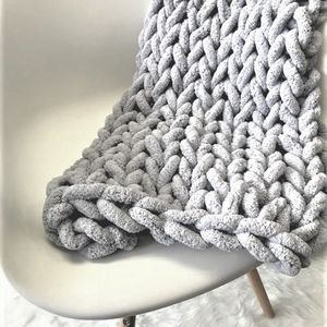 Handmade Chunky Knit Blankets Grey, Cream, Dark Grey, Blue, And More) for Sale in Glendale, AZ