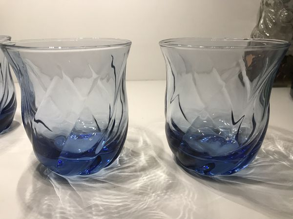 Vintage Anchor Hocking Misty Blue Optic Swirl Tumblers Set of 4