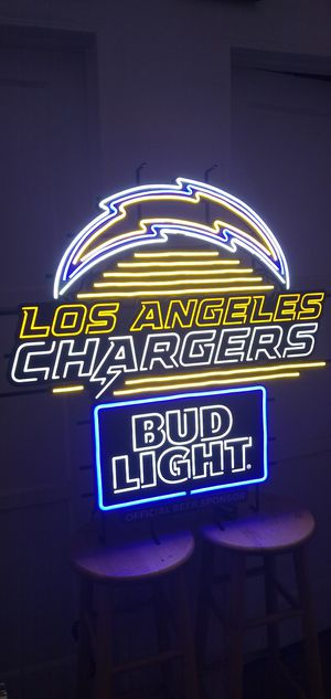 BUD LIGHT LA CHARGERS LED SIGN . ( ALSO PLENTY OF NEON SIGNS / LIGHTS AVAILABLE FOR SALE )DODGERS & ANGELS BOBBLEHEADS AVAILABLE. for Sale in Los Angeles, CA