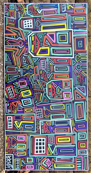 48x24 ORIGINAL SIGNED PRIMITIVE EXPRESSIONIST PAINTING. STRETCHED CANVAS AND READY TO HANG! for Sale in Cincinnati, OH
