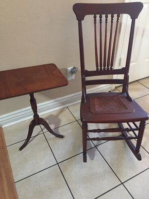 Antique OAK Rocking Chair and side table. for Sale in Glendale, AZ