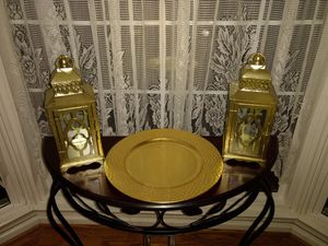 125 Gold Hand Hammered Charger Plates & 10 Matching Lanterns for Sale in Manassas, VA