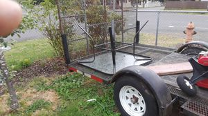 Flatbed with drop gate 6 by 12 good trailer okay tires don't use it no more 400 bucks best offer for Sale in Portland, OR