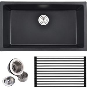 Commercial 31 Inch Handmade Single Bowl Undermount Drop in Black Onyx Granite Kitchen Sink for Sale in Stevenson Ranch, CA