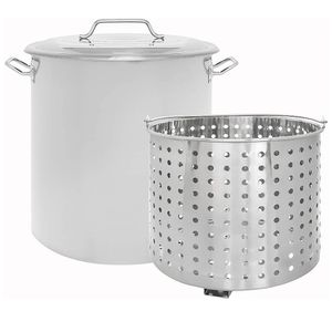 New 60QT Stainless Steel Stock Pot with Steamer Basket/Olla de 60QT nueva con colador de metal for Sale in Chino, CA