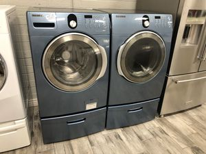 Samsung blue frontload washer dryer set electric for Sale in Phoenix, AZ