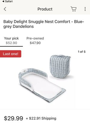 Baby Snuggles Nest infant bed - used twice, great condition! Baby Carrier - used once great condition all for $30 for Sale in Severn, MD