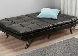 Black Leather Memory Foam Futon for Sale in Hawthorne, CA