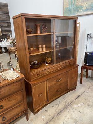 Mid century vintage wood hutch (one piece) for Sale in Huntington Beach, CA