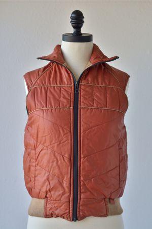 70s Vintage Burnt Orange Khaki Reversible Puffer Ski Vest by Avalanche, Tan Vest, Nylon Waterproof Poly Filling, Acrylic Knit, YKK Zippers for Sale in San Diego, CA