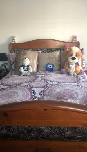 Queen size bed frame for sale 2 nightstands and dress or for Sale in Costa Mesa, CA