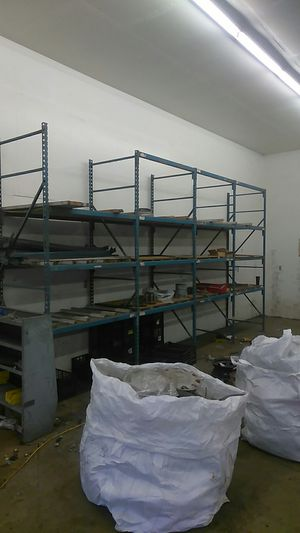 Metal shelving 10 ft tall 3 ft wide 35 ft long for Sale in Sumner, WA