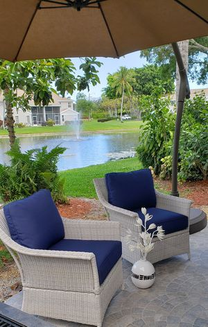 Two brand new large wicker patio club chairs with plush navy cushions for Sale in Boca Raton, FL