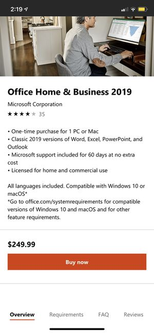 Office Home and Business 2019 for Sale in Seattle, WA