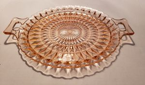 """Vintage Pink Windor 2 Handled Cake Plate Or Serving Tray 12"""" for Sale in Pattersonville, NY"""