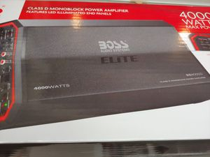 Car amplifier : BOSS Elite 4000 watts monoblock 1 ohm mosfet car power amplifier built in crossover 40a×3 fuses & bass subwoofer control Brand new for Sale in Bell Gardens, CA