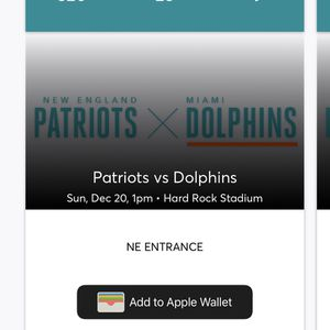 Dolphins vs Patriots Last Home Game Of Season for Sale in Miami, FL