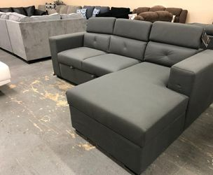 🎁BRAND NEW 🎇Salado Gray Sleeper Sectional with Storage for Sale in Laurel,  MD