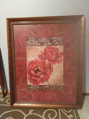 Large pretty picture glass in wooden frame for Sale in Fresno, CA