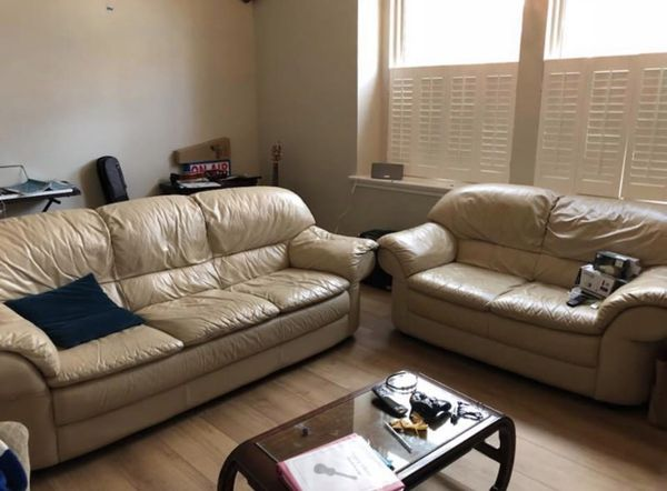 Natuzzi Leather couch and love seat