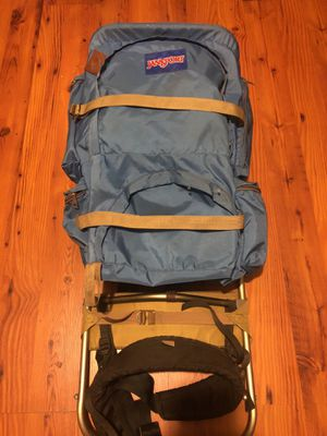 Vintage Jansport Hiking Backpack Leather Blue for Sale in San Lorenzo, CA