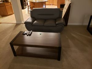 Amazing gray leather sofa loveseat coffee table and TV stand for Sale in Fort Washington, MD