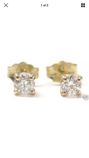 Fine round cut diamond stud earrings yg 14kt 0.42ct for Sale in Los Angeles, CA
