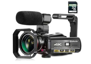 Video Camera, Zohulu 4K Camcorder WiFi Ultra HD Vlogging Camera for YouTube, 3.1'' IPS Screen 30X Microphone, Wide Lens, 32GB Card, 2 Batteries for Sale in Alta Loma, CA