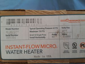 Chronomite instantaneous water heater. M-40A/277V, 110Degrees, for Sale in Grand Prairie, TX