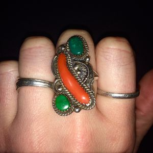 Navajo Sterling Silver, Turquoise & Coral Antique Ring for Sale in Junction City, OR