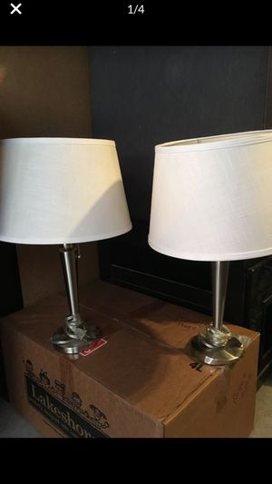 2 Lamps for $10 - Silver Base with White Shade for Sale in Rancho Santa Margarita, CA